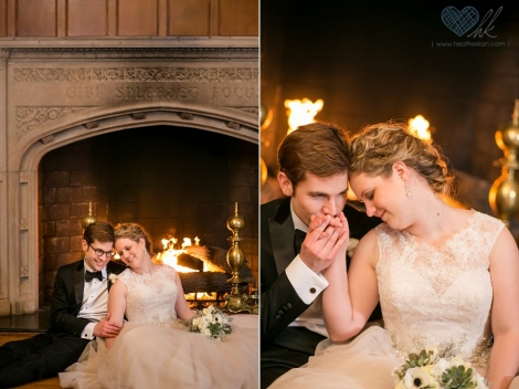 Gem Theater Detroit winter wedding fireplace photographs
