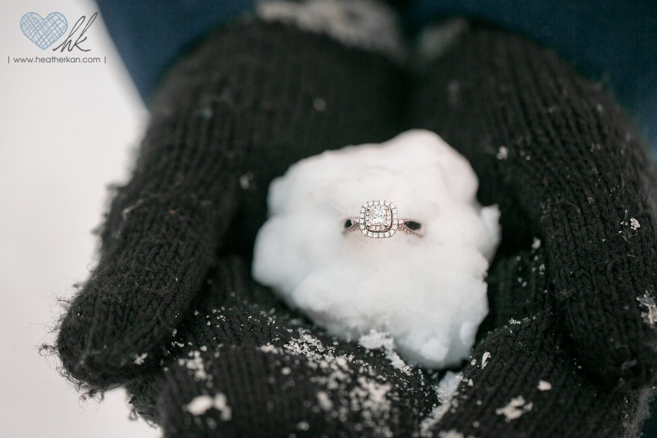 snowball engagement ring photograph