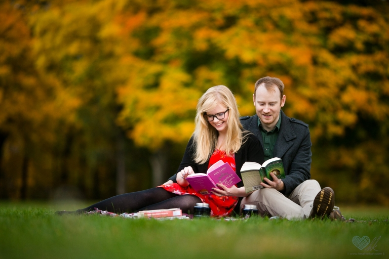 Fall engagement session books geeks