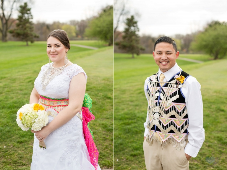 Hmong And American Blended Traditional Wedding Attire Bride Groom