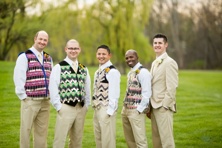 Hmong And American Blended Traditional Wedding Attire Groomsmen