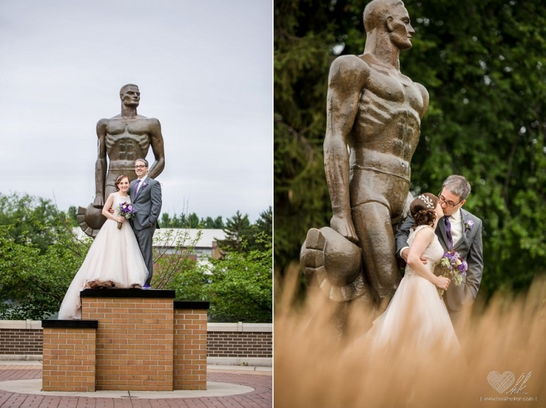 wedding photographs with Sparty MSU