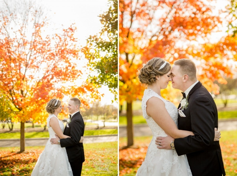 fall wedding photographs at lyon oaks banquet center