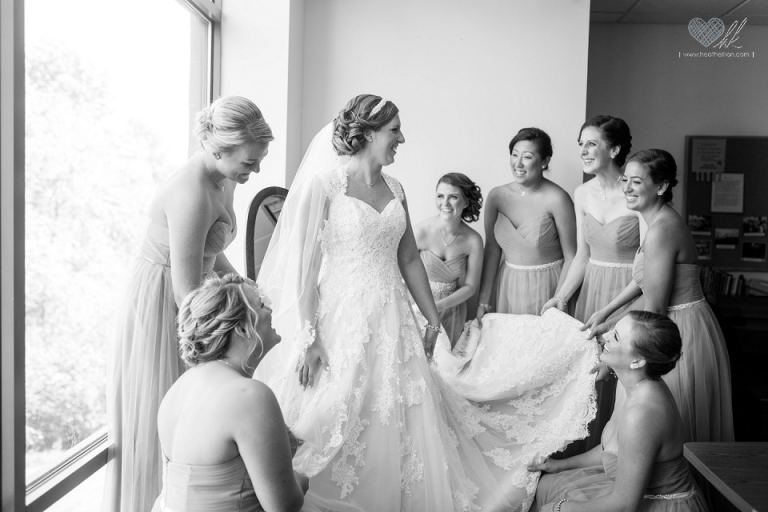 bride getting ready at Our Lady of Good Counsel