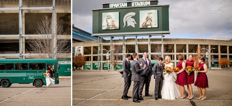 wedding portraits at Spartan Stadium MSU