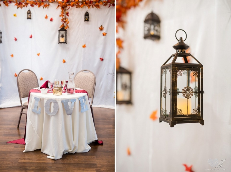 Fall burgundy decor by W.E.D., Hawk Hollow wedding