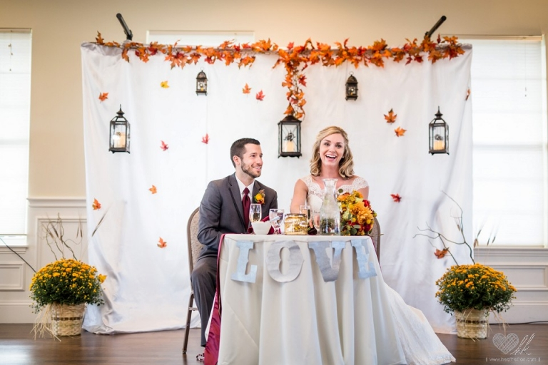 Hawk Hollow fall theme wedding reception