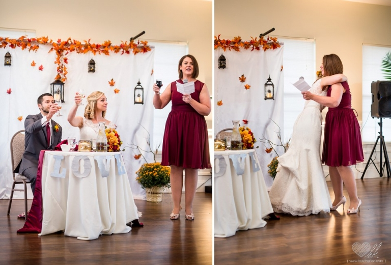 Hawk Hollow fall theme wedding reception toasts