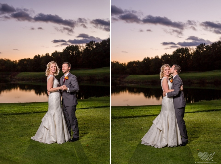 Gorgeous sunset wedding photographs at Hawk Hollow