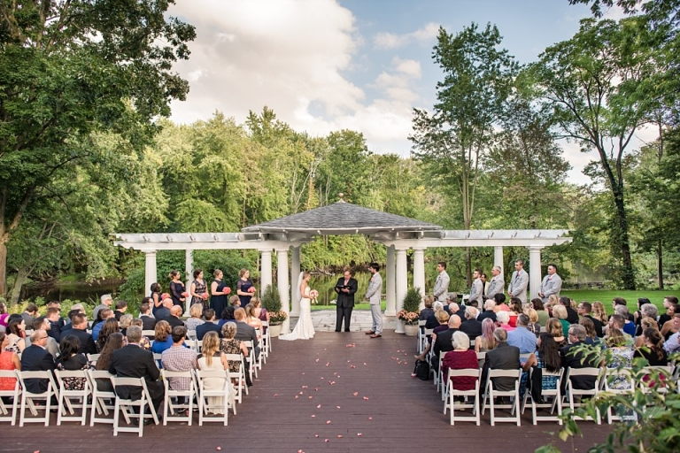 English Inn fall wedding Pergola