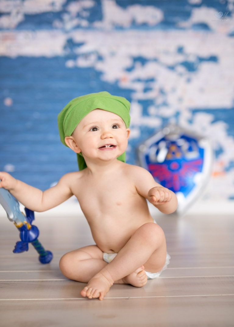 Zelda themed One year old boy session Grand Ledge Michigan