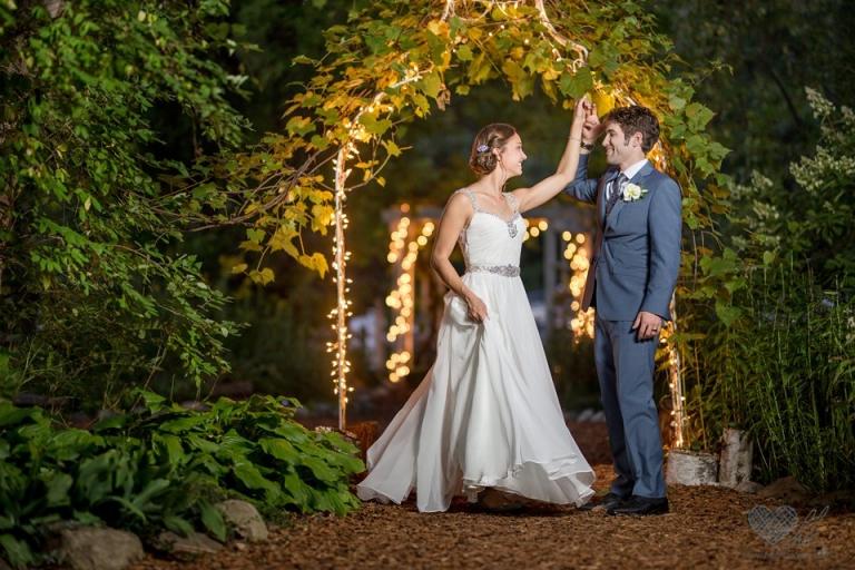 Blue Dress Barn nighttime wedding photographs