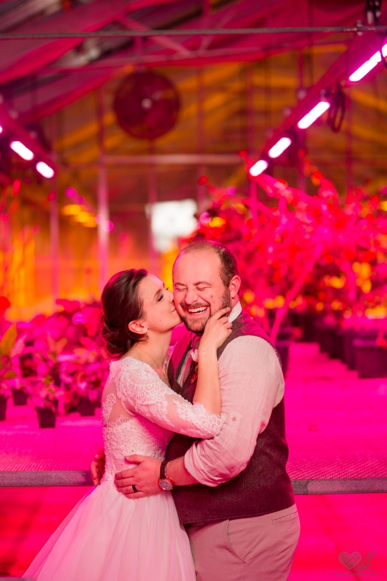 MSU Horiculture Greenhouse grow room pink wedding photographs