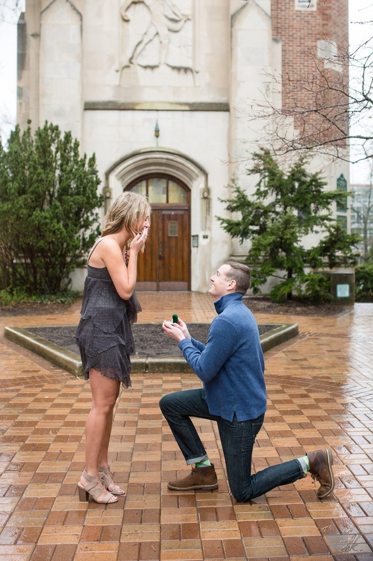 Rainy proposal photographs at Beaumont Tower, MSU