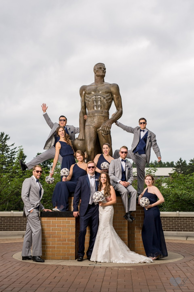 sparty statue wedding photographs