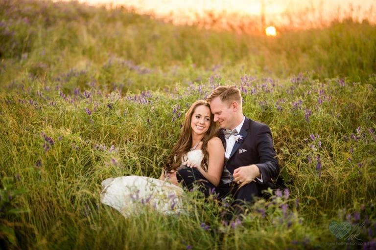 Hawk Hollow golden hour wedding photographs in field