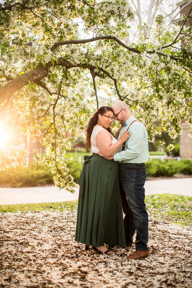 Springtime Engagement Session on MSU's Campus with flowering trees