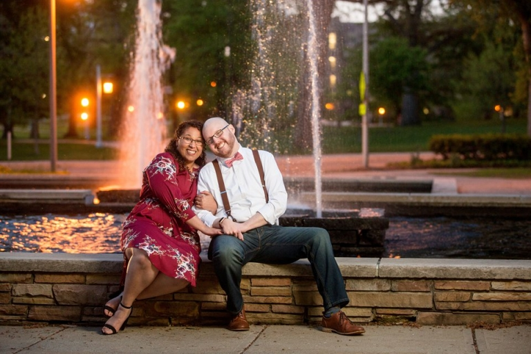 Engagement Session photographs near Library Fountain