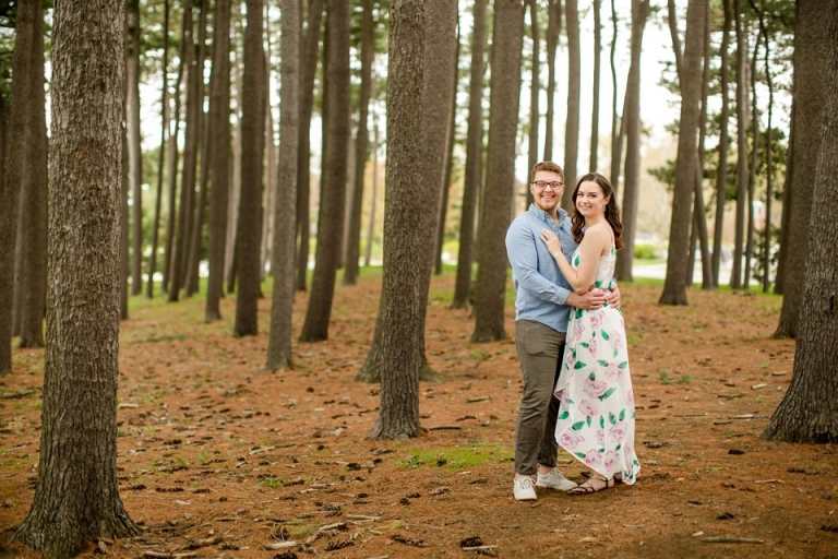MSU Engagement photographs in pine forest