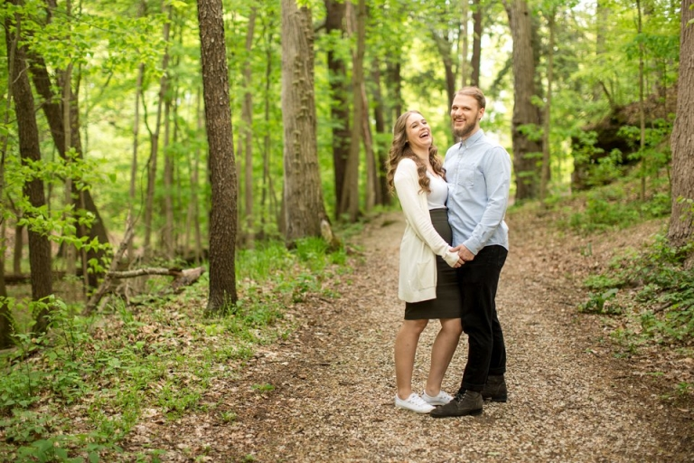Engagement session photographs at Fitzgerald Park in Grand Ledge, Michigan