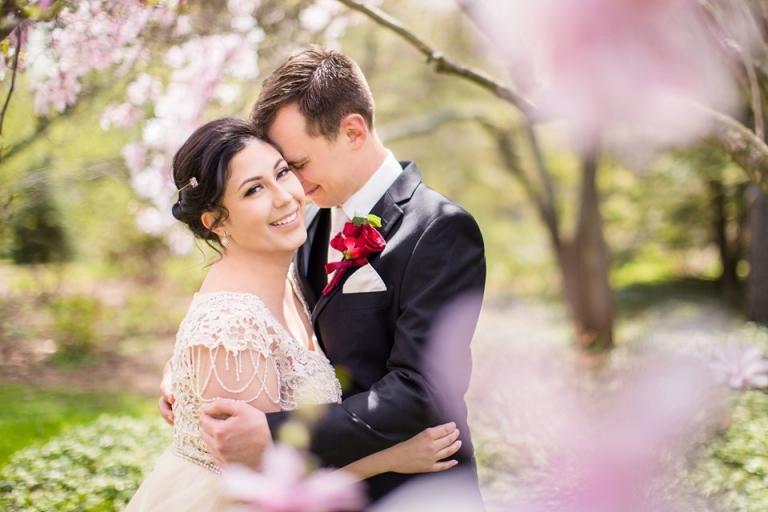 East Lansing MSU wedding photographs with flowering trees at the Lewis Landscape Arboretum