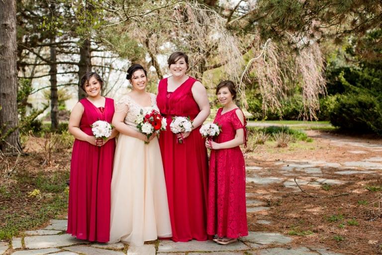 East Lansing MSU wedding photographs bridal party at the Lewis Landscape Arboretum