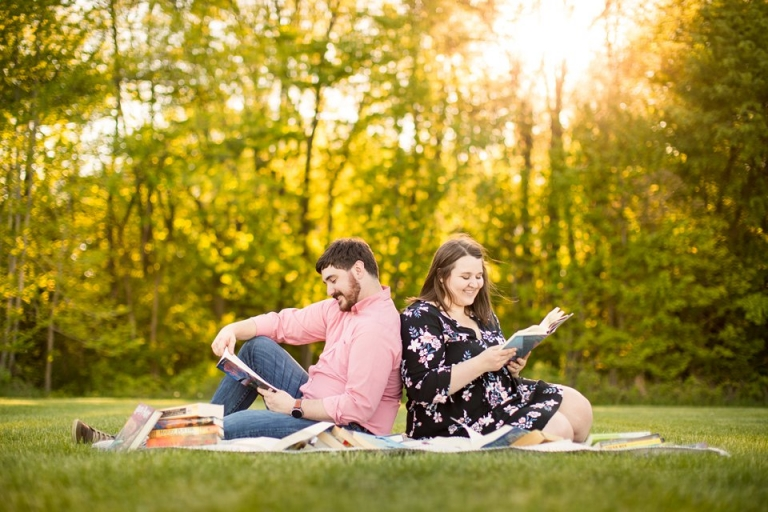 Engagement photographs with books at Lincoln Brick Park, Grand Ledge, Michigan