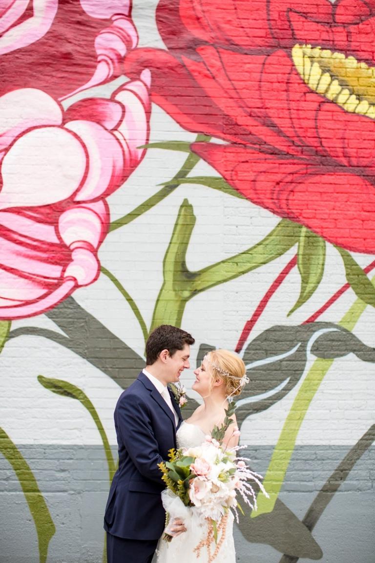 Wedding photographs near the Jackson Michigan flower murals