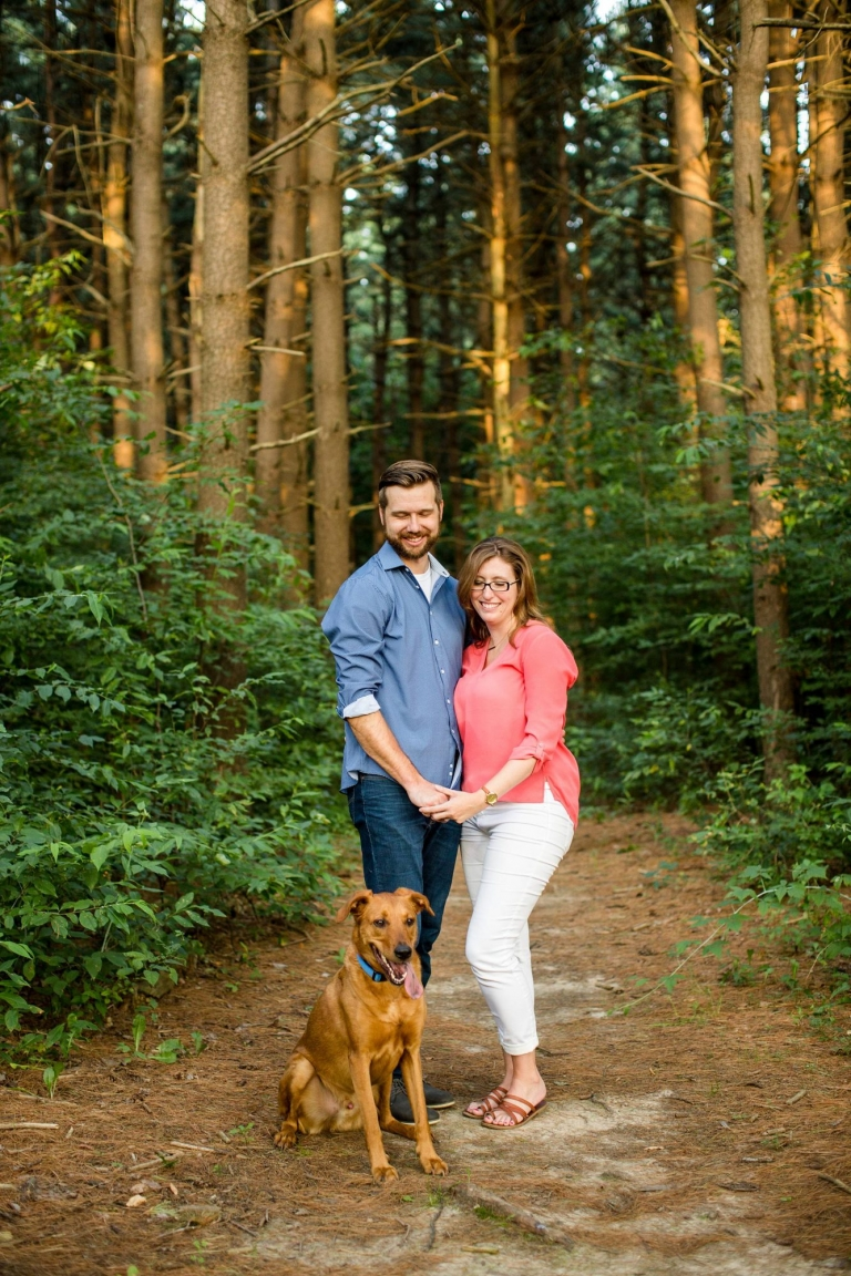 Woldumar Nature Center engagement photographs with dog