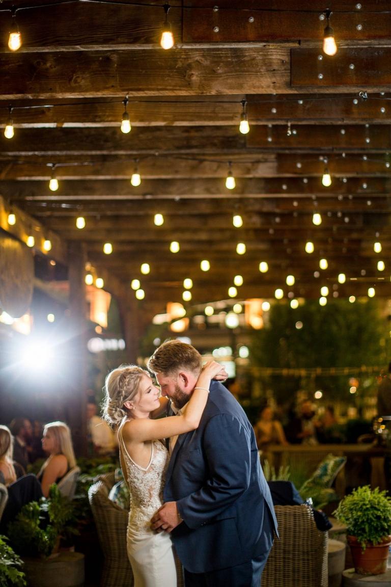 Wedding reception photographs at night at Eatori in Detroit Michigan