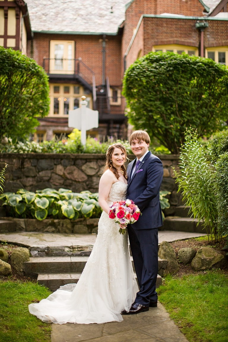 Wedding photographs in the gardens at the English Inn, Eaton Rapids