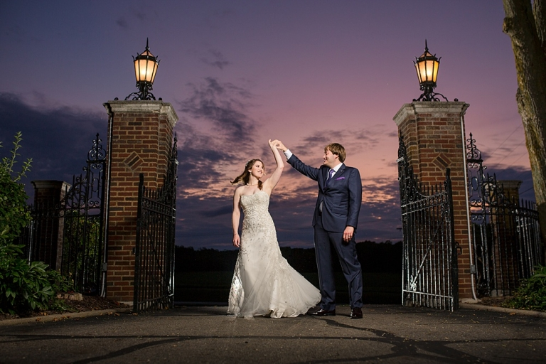 Sunset wedding photographs at the English Inn gate, Eaton Rapids