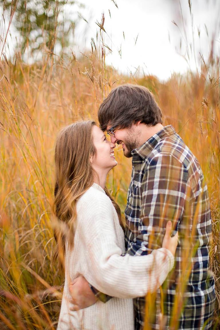 Fall engagement photographs in tall red grass, Grand Ledge, Michigan