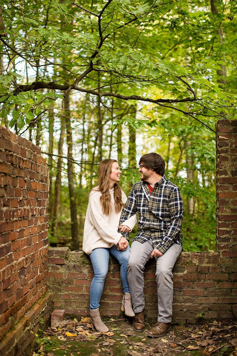 Fall engagement photographs at Lincoln Brick Park, Grand Ledge, Michigan