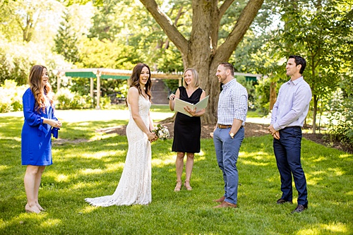 an intimate COVID wedding at MSU under the wedding tree in Beal Gardens, Michigan